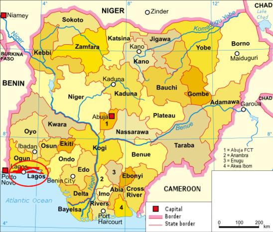 Carte du Nigéria avec la ville de Lagos. (Crédit photo : DragonFire1024 at English Wikinews.CC)