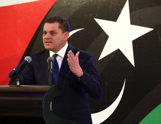 Abdel  Hamid  Dbeibah, 1er ministre lybien, en conférence à Tripoli, 25 février 2021. (Crédit photo : HAZEM TURKIA / ANADOLU AGENCY)