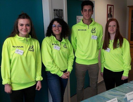Elisa, Alice, Victor et Aurélie prêts à accueillir chefs de délégations et recruteurs. (Crédit photo : JDA)